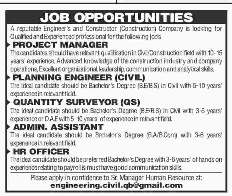 Project Manager, Admin and Hr & Engineer jobs in Engineering & construction company 15 may 2017
