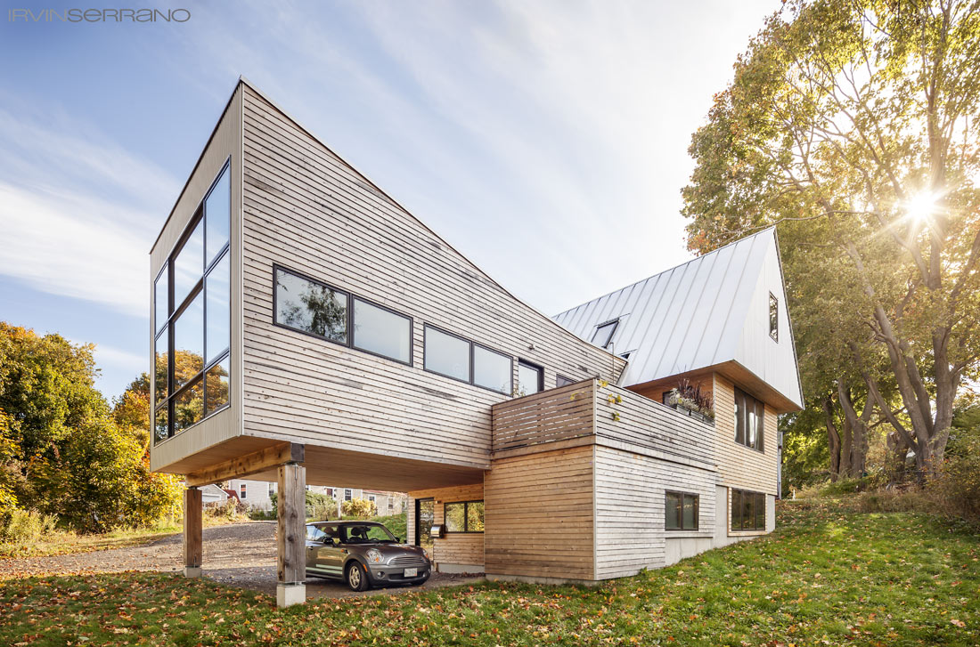 Exterior of Darren Commerford's, a south portland architect, funky, functional and modern dream home.