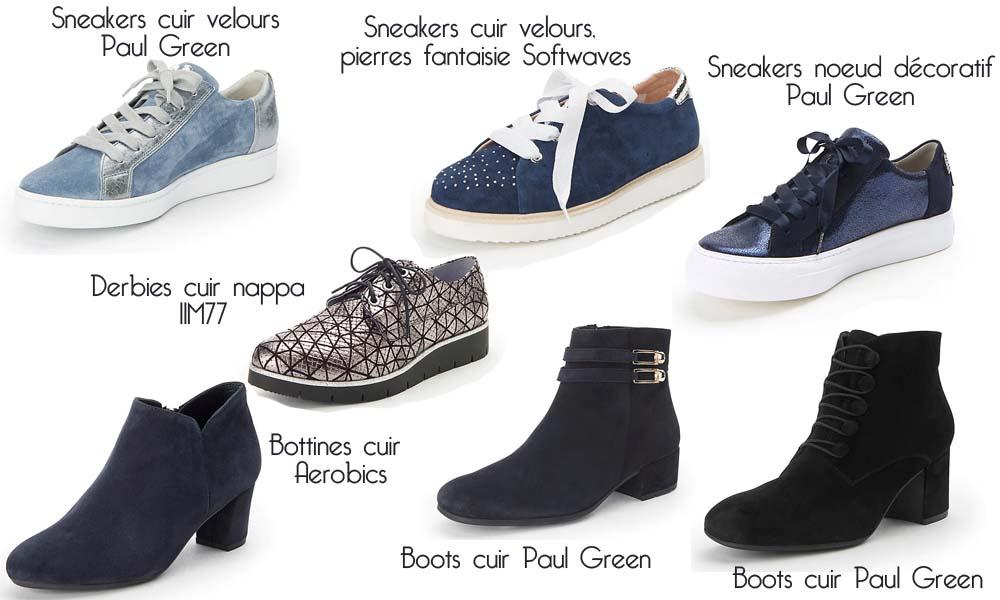 sélection de chaussures tendances sneakers, boots et bottines