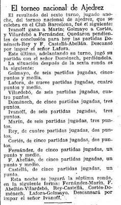 Recorte de La Vanguardia sobre el Torneo Nacional de Ajedrez Barcelona 1926, 30/9/1926
