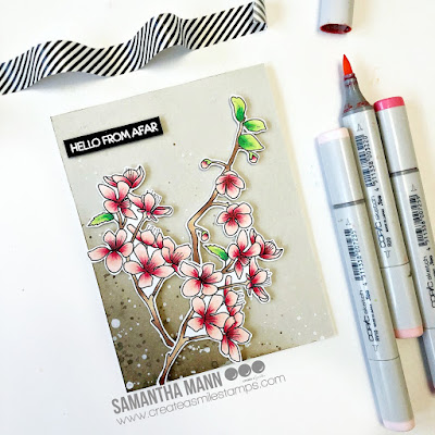 Hello From Afar Card by Samantha Mann for Create a Smile Stamps, Copic Makers, Copics, Cards, handmade cards, #distressinks #createasmile #cherryblossom #copics #cards