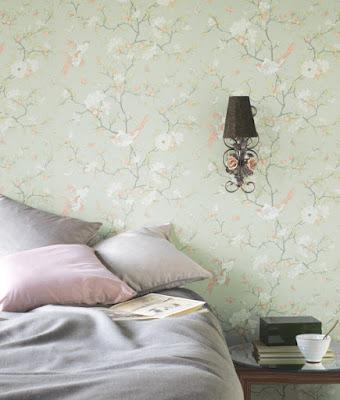 Papel Pintado Natsu estilo floral romántico flores y pájaros