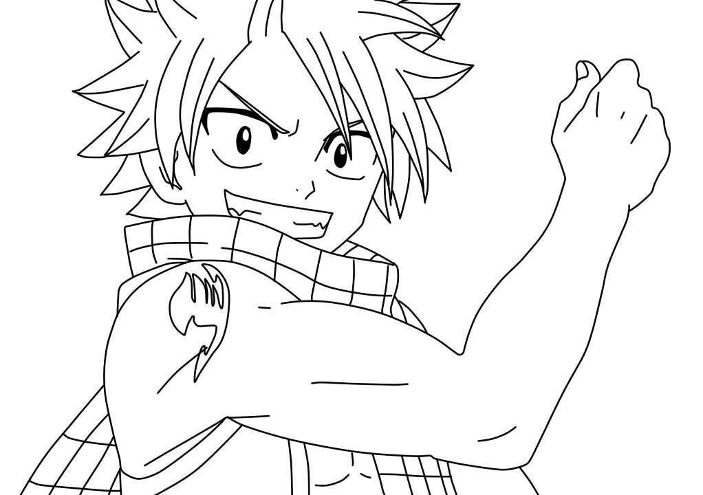 Natsu Dragon Slayer Fairy Tail Coloring Page Free