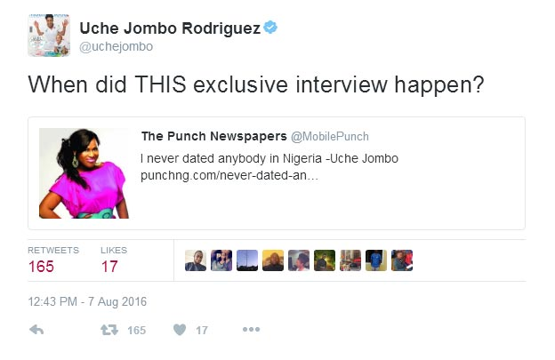 I haven't dated anybody in Nigeria: Uche Jombo berates Punch Newspaper for misquoting her