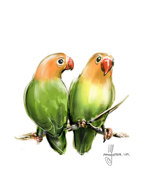 Lilian's Lovebird bird painting by Ulf Artmagenta