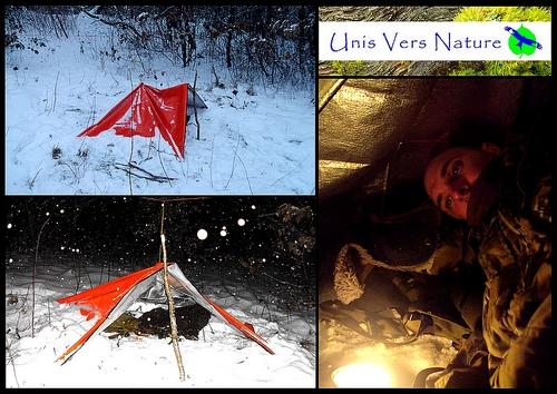 test survie; survie; fond de sac; survie hiver; grand froid; neige; bougie; couverture survie