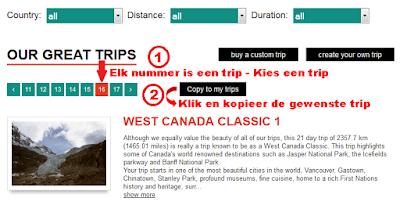 Selecteer de trip 'West Canada Classic 1'