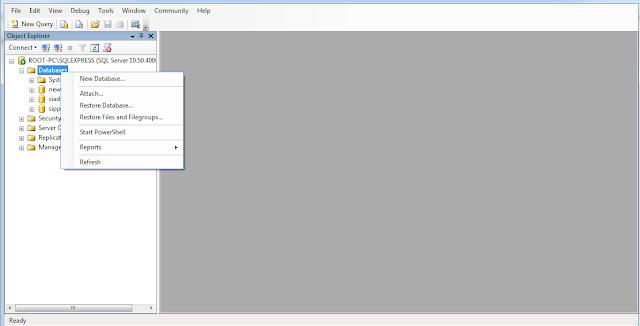 Membuat Database di SQL Manajemen Studio