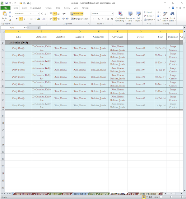 Screen Capture Comic Collection Database in Microsoft Excel