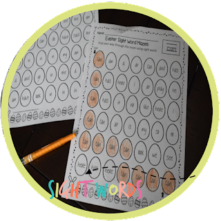 Easter Sight Words mazes