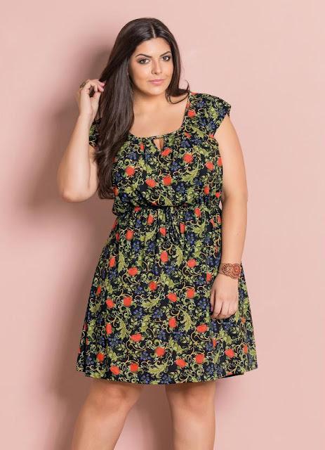 vestido floral para gordinhas