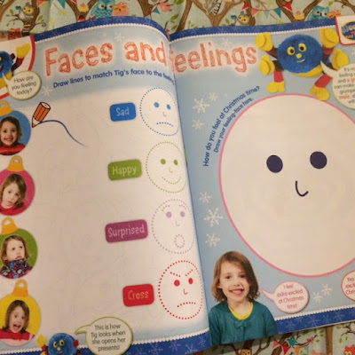 Inside Cbeebies magazine showing a faces and feelings activity