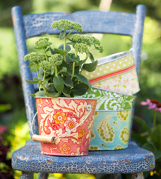 These brightly colored and unique buckets make great planters.