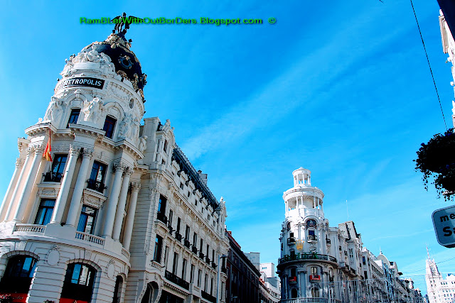 Metropolis and Glassy Buildings, Calle de Alcala, Madrid, Spain