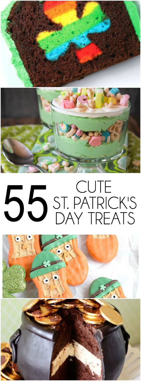 55+ Cute St. Patrick's Day Treats that kids of all ages will love including Lucky Charms French Toast, Mint Chocolate Donuts, and Pot of Gold Cupcakes!