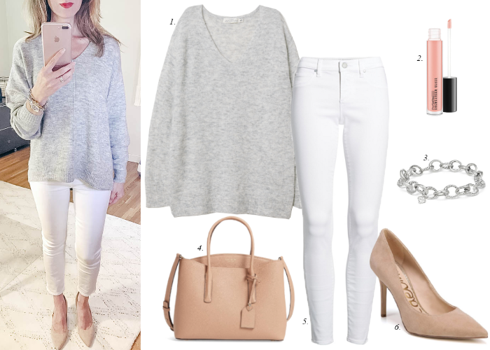 spring outfit white jeans grey sweater blogger mirror selfie
