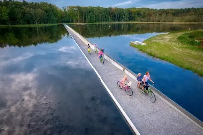 Cycling trough water in Belgium