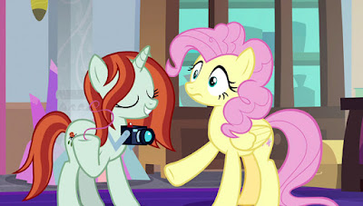 "The ""photographer"" with Fluttershy, whose mane is in Pinkie's style"