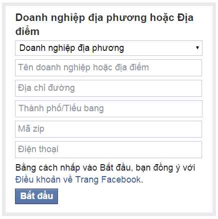 Nhập thông tin Fanpage Facebook