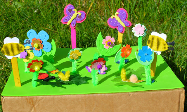 Kids Craft Mini Beast Bugs and Flowers Play Scene