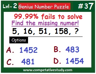 Math Puzzle: Find the missing number: 5, 16, 51, 158, ?