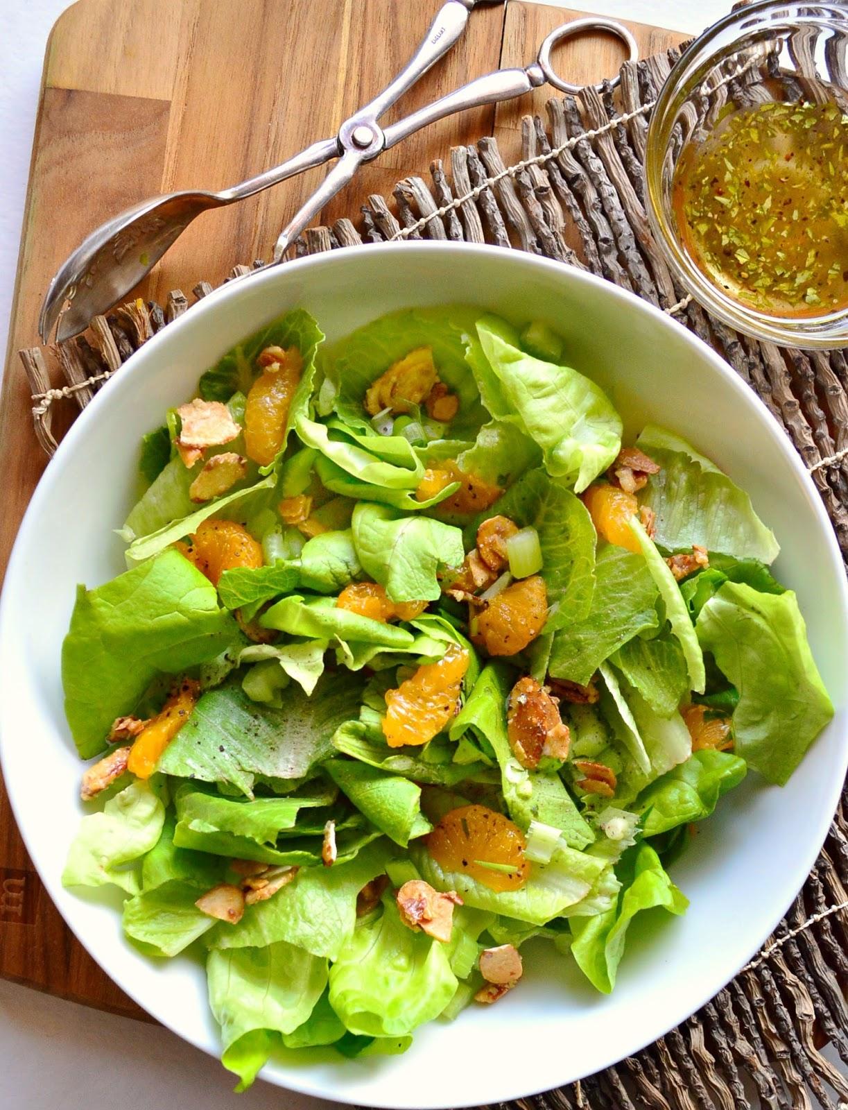 green salad mandarin oranges sugared almonds
