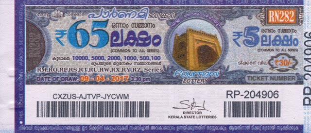 Full Result of Kerala lottery Pournami_RN-109