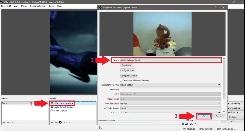 cara menambahkan face cam atau kamera di live streaming obs