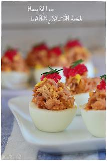 Receta de Huevos rellenos de atún y salmón ahumado. Receta fácil y diferente para no aburrir