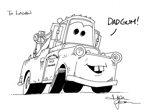 Cars Tow Mater Colouring Pages