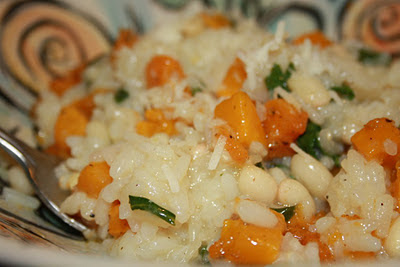 roasted squash and navy bean risotto