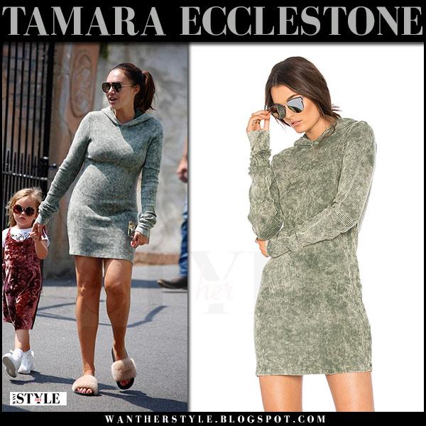 Tamara Ecclestone in green hoodie mini dress cotton citizen the monaco what she wore june 21 2017