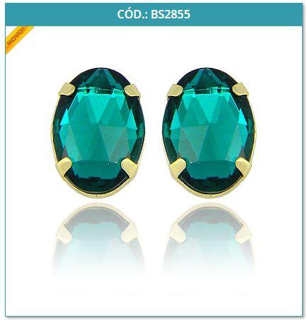 Comprar e Revender Brinco Folheado a Ouro com Pedra acrílica no formato oval