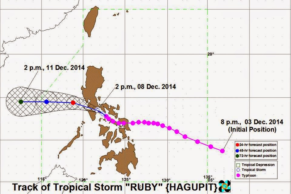 PAGASA: 'Bagyong Ruby' weakens, moves towards Batangas