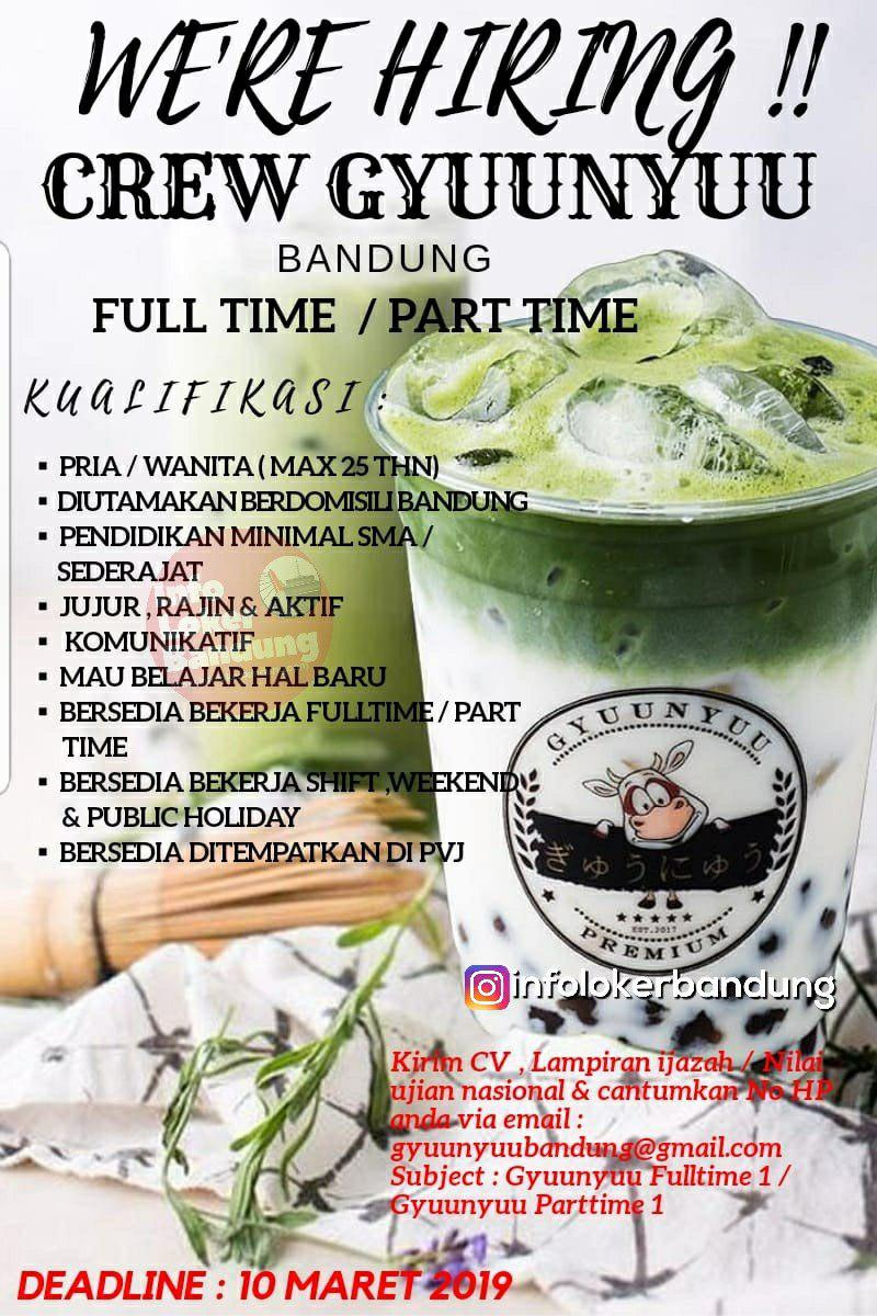 Lowongan Kerja Full Time & Part Time Crew Gyuunyuu Bandung Maret 2019