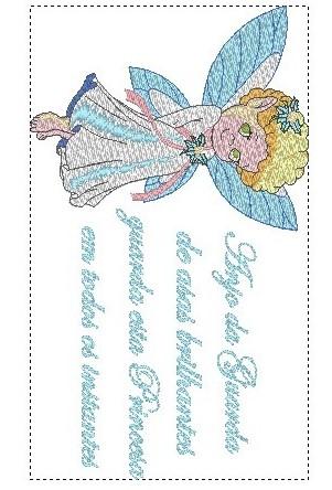 Oração Anjo Princesa - Bordado Grátis