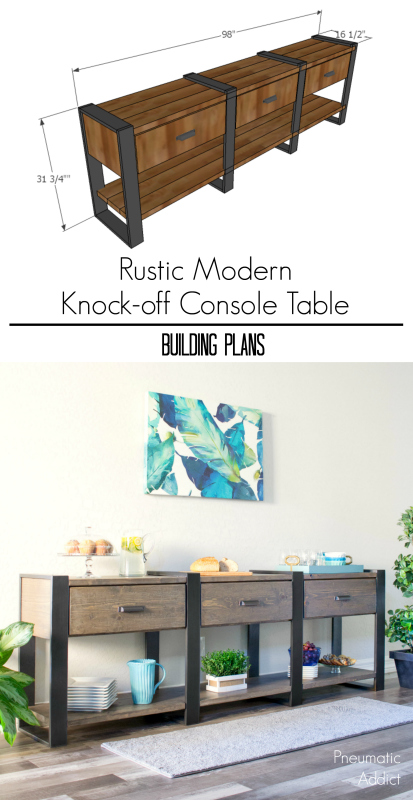 free easy DIY console table sideboard hutch credenza building plans modern rustic farmhouse