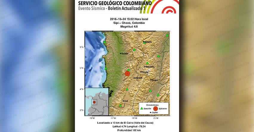 Sismo en Colombia de 4.6 grados (Hoy Miércoles 24 Octubre 2018) Temblor Terremoto EPICENTRO Sipí - Chocó - SGC - www.sgc.gov.co