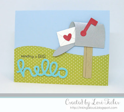 Sending a Big Hello card-designed by Lori Tecler/Inking Aloud-stamps and dies from Lawn Fawn