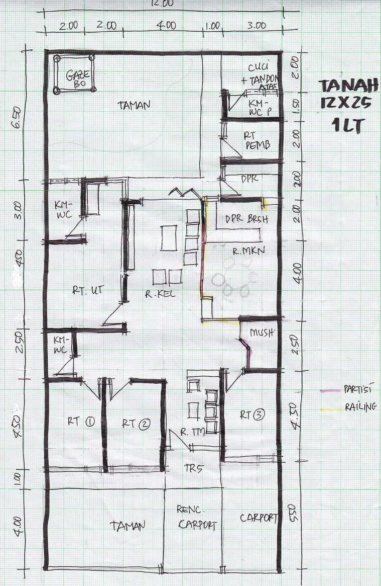 gambar denah rumah lebar 6m 2