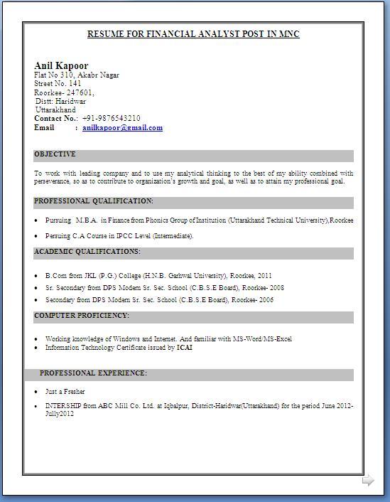 resume format for finance jobs