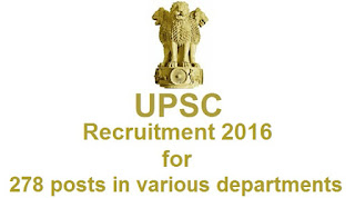 UPSC Recruitment 278 posts