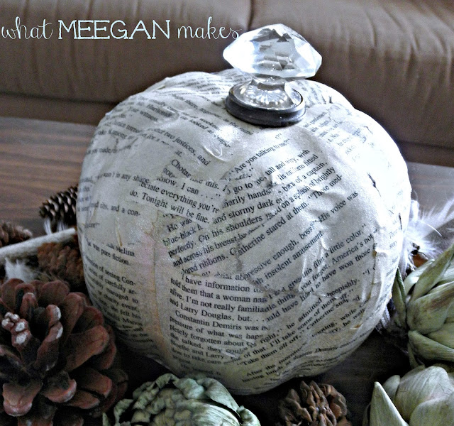 Book Page Pumpkin with a Door Knob Stem