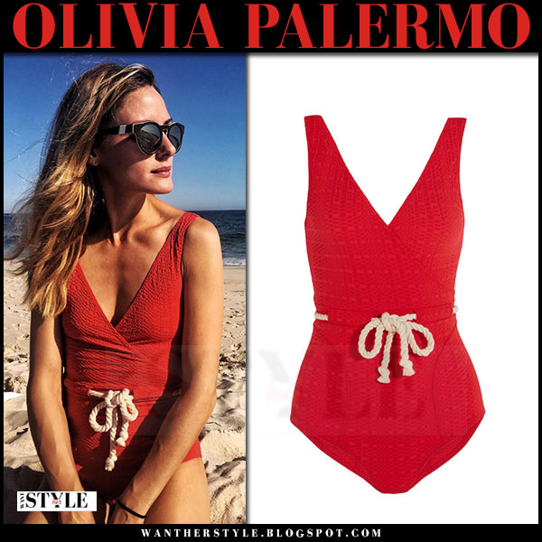 Olivia Palermo in red rope detail swimsuit lisa marie fernandez yasmin beach hamptons what she wore
