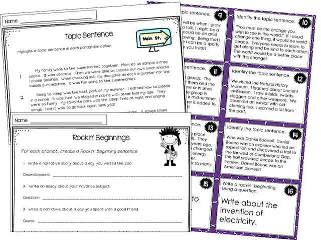 topic sentence task cards
