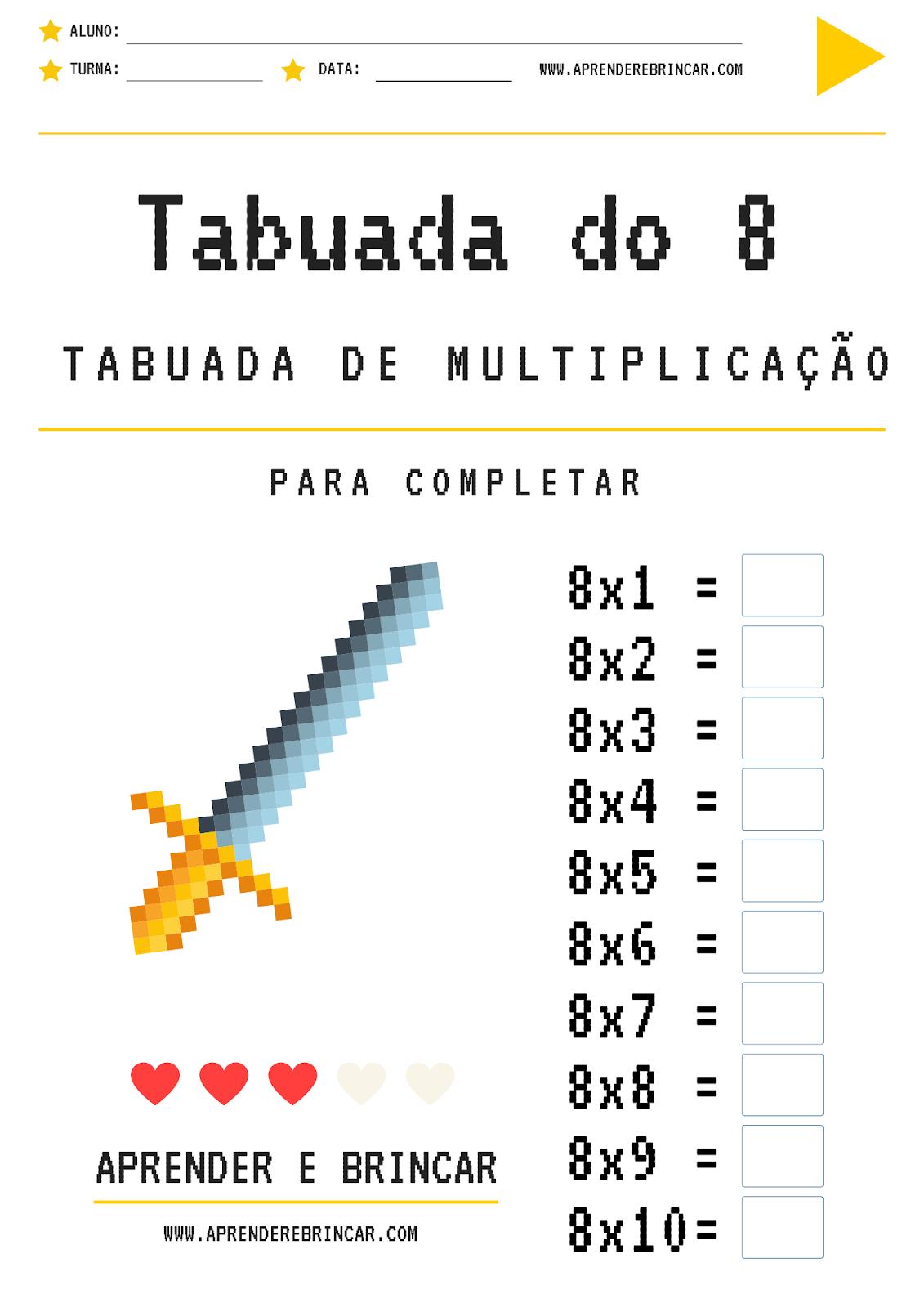 Tabuada de multiplicação do 8