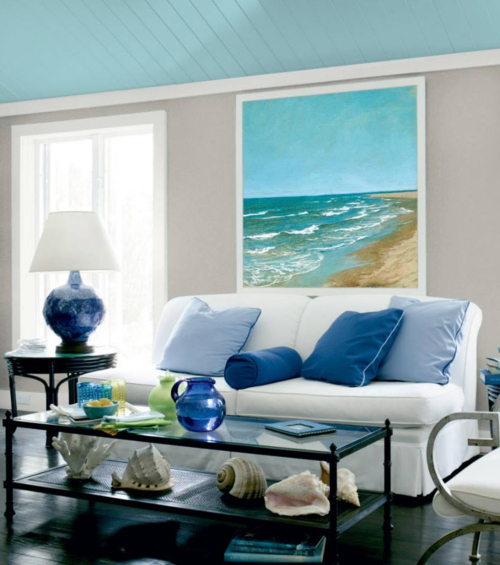 Large Ocean Beach Art Framed above Sofa