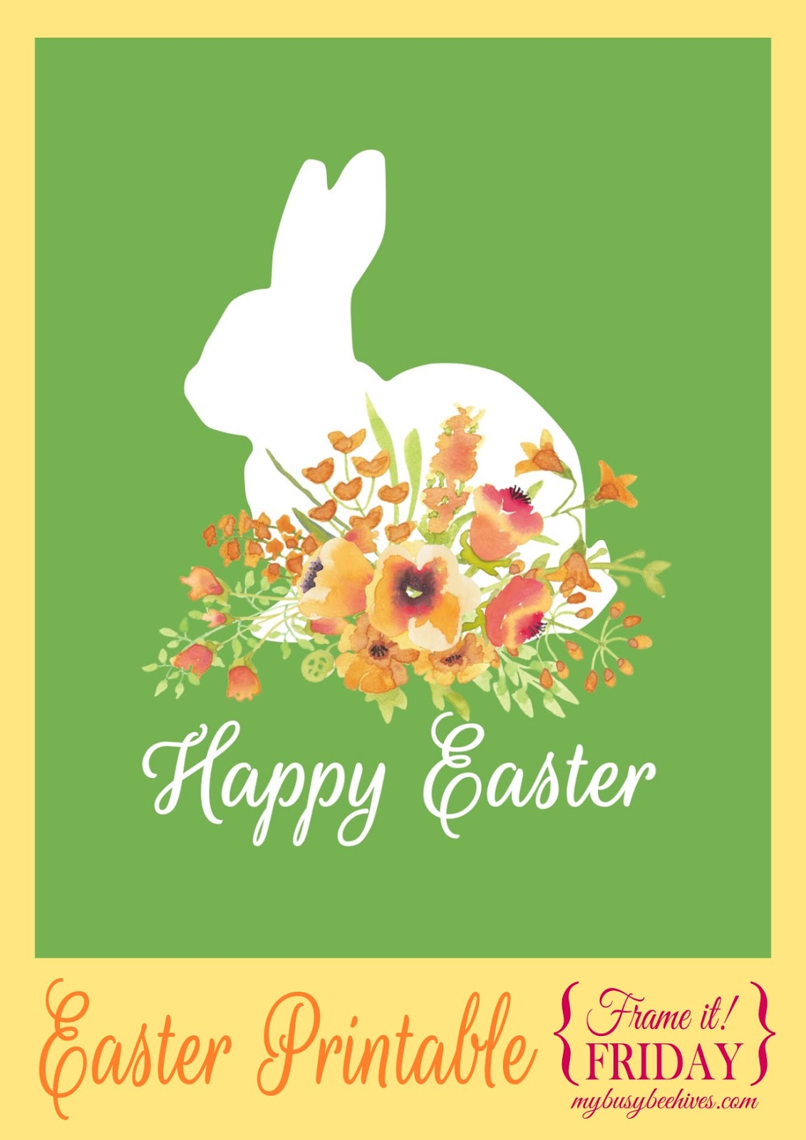 happy easter printable with rabbit - Easter Photo Frames