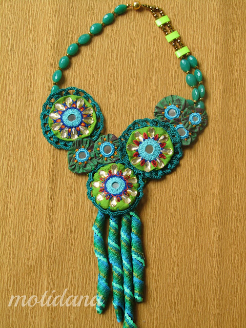 statement necklace , embroidered jewellery , Shisha embroidery, mirror work