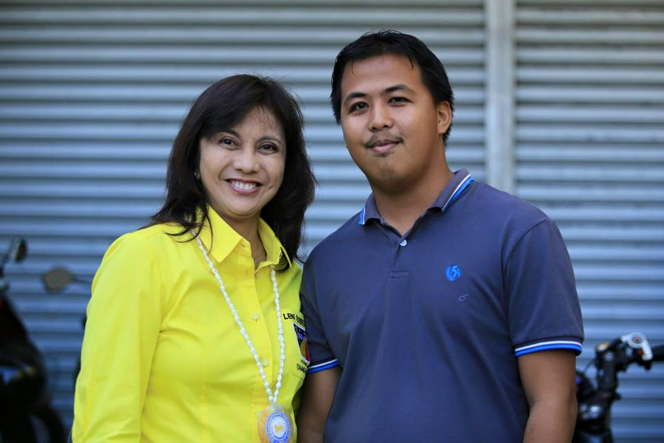 """Vice Presidential candidate Leni Robredo and her """"long-lost son"""" Tyrone Lopez"""